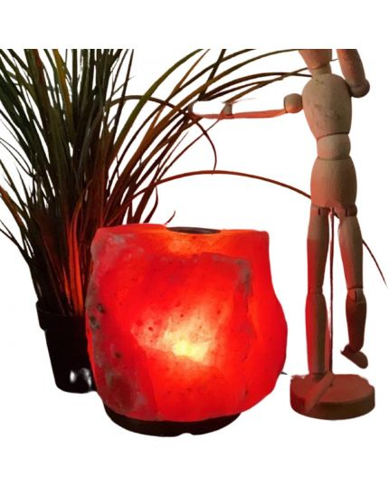 مصباح صخر الهملايا العلاجي - حجم متوسط ارتفاع (١٧ - ٢٢ )سم  - مع فتحة للشمعه اعلى الصخره